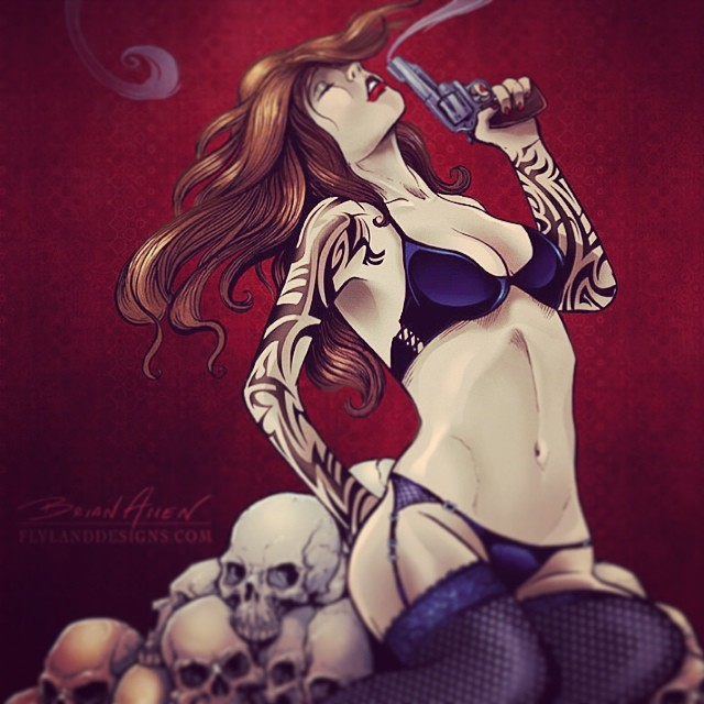 This illustration of a girl sitting on a pile of skulls with a smoking gun,was done for a skateboard deck company called Project Decks.