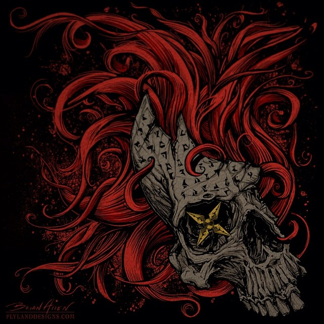 I created this illustration of a skull a few years a ago for a t-shirt design  for Alien Artifacts.