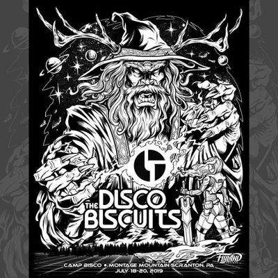 "Here's one of my favorite projects this year: Gig poster for the Disco Biscuits at Camp Bisco. The band said ""go nuts"", so I did. Here are the inks - Thanks to HiLine Merch for making this happen!I'll have 25 APs available as massive 24""x36"" metallic foil silk-screen prints available at the end of the day in my shop.#psychedelicart #wizardart #fantasyart #scifiart #campbisco #thediscobiscuits #musicfestival #bandmerch #bandtshirtart #tshirtart https://www.flylanddesigns.com/shop/"