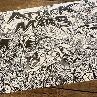 Huge personal project I'm working on. Redesign of the classic Attack From Mars I've officially licensed from Williams that I plan on producing as limited edition Translites and Acyrlic backglasses. Here's the ink drawing right before adding color. I love packing in as much activity and detail as possible, and I threw in a bunch of nods to other Alien attack genres.Printing these now - finished it just in time to bring to Pinball Expo in Chicago- can't wait to share more.••••#attackfrommars #williams #bally #pinballart #pinballartwork #pinballexpo #pinball #pinballmachine #playfield #backglass #alienart #scifiart