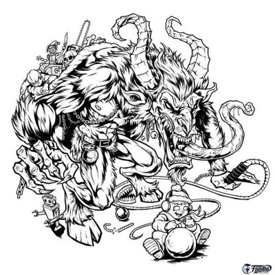 Inked lineart for a Krampus illustration I'm working on - The Christmas season needs more whips, I've always said. Inked in Clip Studio Paint on a Wacom Cintiq Pro 24.This will be used for the artwork on my next metallic foil disc.#krampus #krampusart #discgolf #discraft #discart #clipstudiopaint #wip