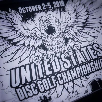 I got the opportunity to design the official poster for the United States Disc Golf Championship back in October this year!Here's a shot of the inking a reimagining of their eagle on the top part of the poster in Clip Studio Paint.#usdgc #usdgc2019 #discgolf #frisbeegolf #discraftdiscs #teamdiscraft #discraft #disc