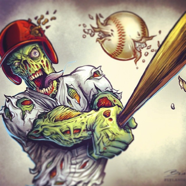 New to instagram, please follow me!  I need attention!#zombie #baseball #mascot #sports #illustration