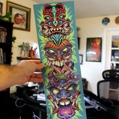 I'm restocking my Tiki Totem art print in my shop! This was originally drawn for a skateboard. I'm obsessed with Tiki artwork, and you should be too.Signed by the Artist.Printed on high-quality cover stock matte paper with archival inks.#tikiart #tiki #tikiroom #tikibar #tiittotem #beachartwork #artprints #artprintsforsale #artposter #posterart #flylanddesigns #artist #instaartist