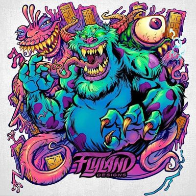 Monsters Inc. Sully parody illustration I created for a client a while back, always liked the trippy colors of it.#monstersinc #sully #psychedelicart #meditation #trippyart #cannabisart #mushroomart #marijuanaartist #cannabiscommunity