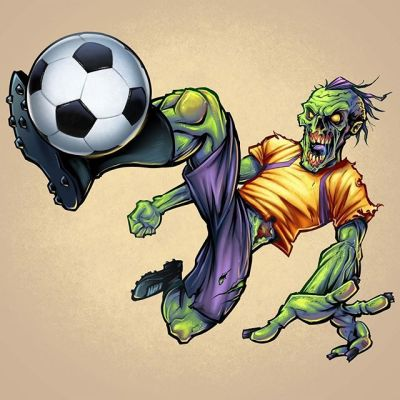 "Zombie Soccer player digital painting I created a few years back I ""dug up"" (get it?) from the archives.Hit me up if you need a mascot drawn!#soccerart #footballart #mascot #zombieart #zombieartist #undead #horrorart #monsterart"