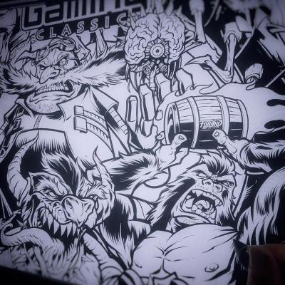 WIP inks for the VIP T-Shirt design for the Midwest Gaming Classic I designed (which was unforutnately canceled because of COVID). Mash-up of famous video game villains.#pinball #midwestgamingclassic #mgc2020 #videogames #arcade #retroarcade #sonicthehedgehog #mario #pinballart