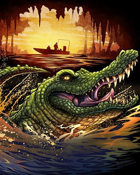 swamp alligator illustration for swamp people