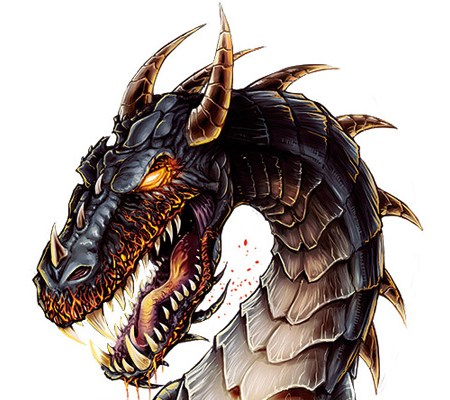 Product label illustration of a dragon for Bonfatto's Apocalips brand hot sauce.