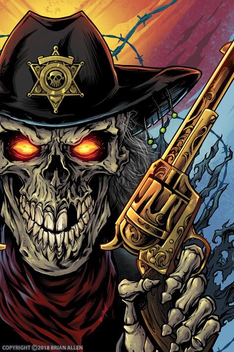Evil grim reaper with guns.