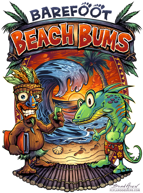 Tropical beach illustration of a tiki man and iguana on a beach