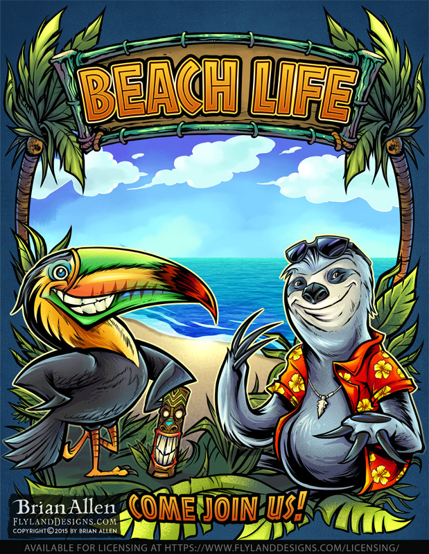 Toucan and Sloth cartoon charact