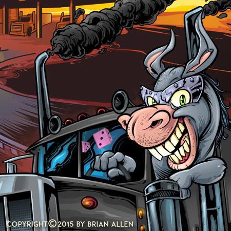 Donkey driving a giant semi truc
