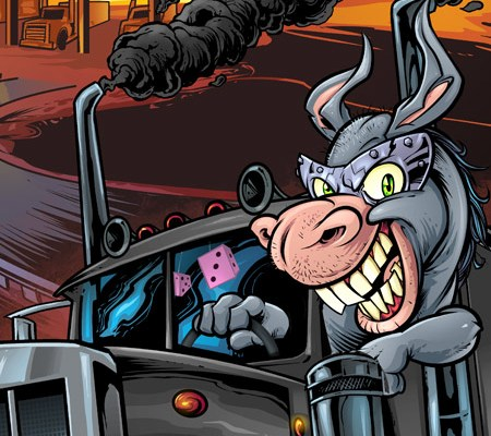 Donkey driving a giant semi truc