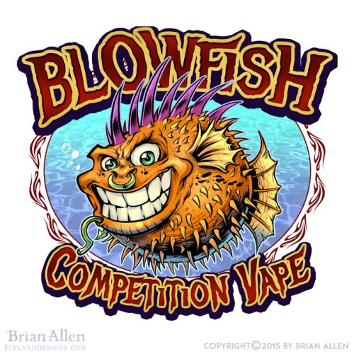 Blowfish cartoon character punk rock for logo
