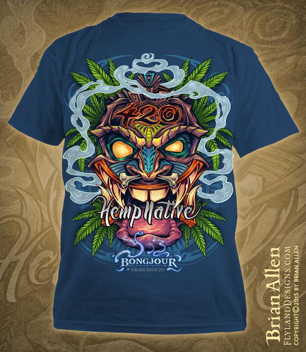 Tiki head t-shirt illustration with marijuana leaves and pot smoke
