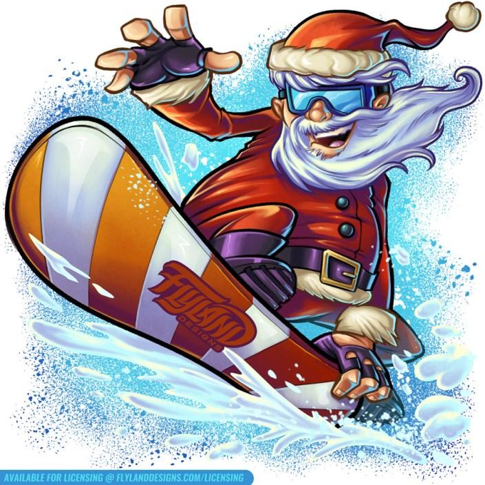 Snowboard Santa riding a candyca