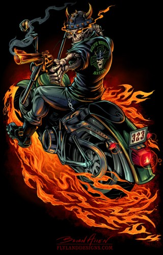 T-Shirt illustration of a skeleton riding a motorcycle through flames holding a gun