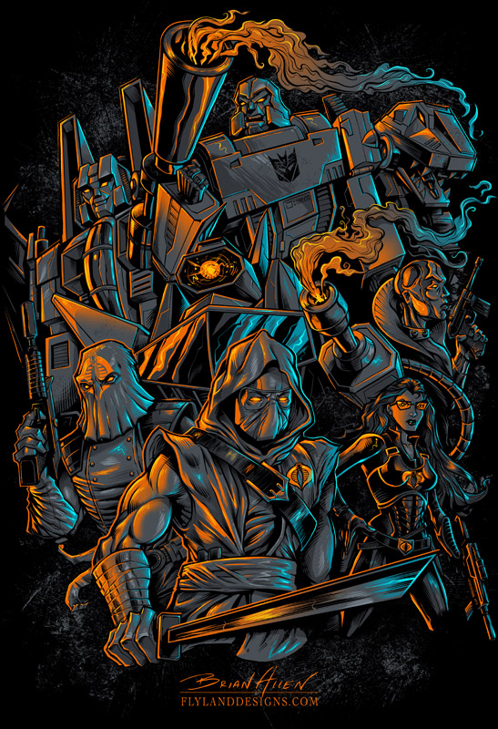 Silk screen t-shirt illustration of Cobra, Transformers, Gi Joe, and Decepticons