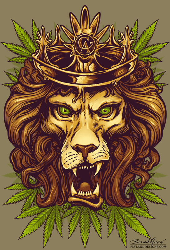 rasta lion for concentrated apparel flyland designs