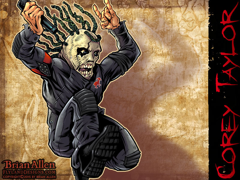 Caricature illustration of Heavy Metal Icon Corey Taylor of Slipknot