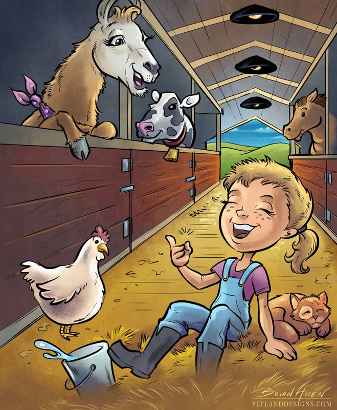 Children's book illustration of a llama and little girl in a barn