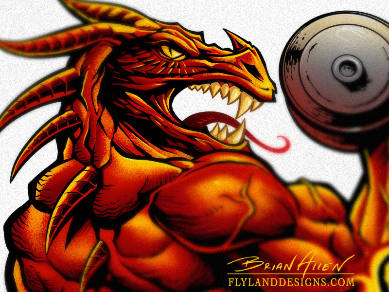 Custom logo design of a red muscle dragon lifting weights