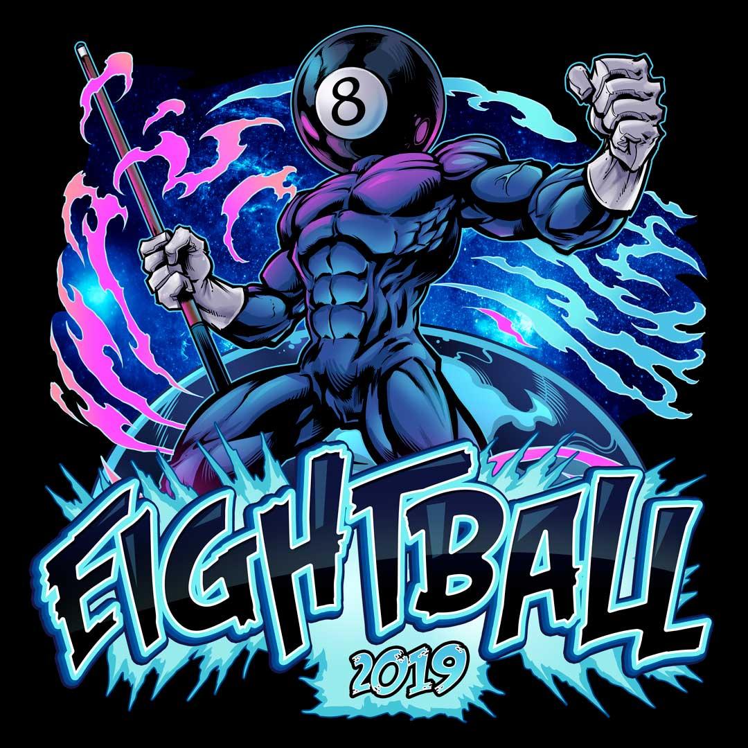 Superhero with an eightball head