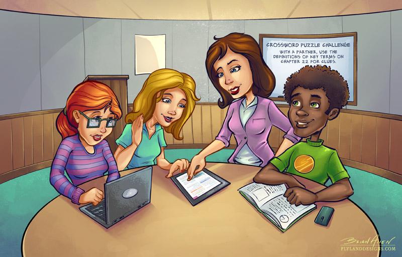 Nursing classroom illustrations with cartoon comic teen characters