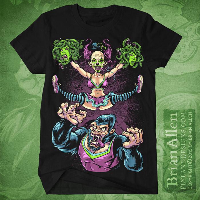 Silk-screen t-shirt design of a