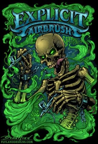 Airbrush T Shirt Designs | Airbrush Skeleton T Shirt Illustration Flyland Designs Freelance