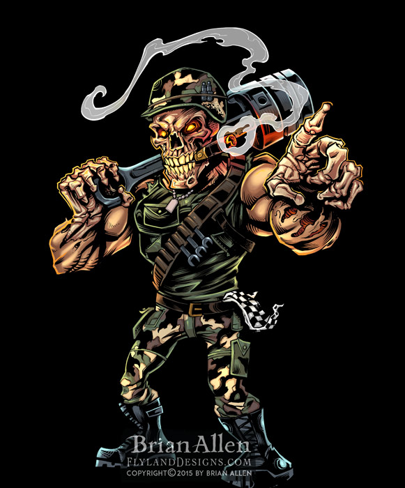 Angry militant skeleton mascot with army helmet for drag racing.