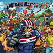 Football tailgate colorful comic book cartoon illustation of fans and football player