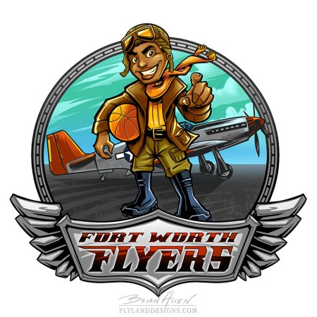 Mascot design of a black basketball player kid dressed as a pilot