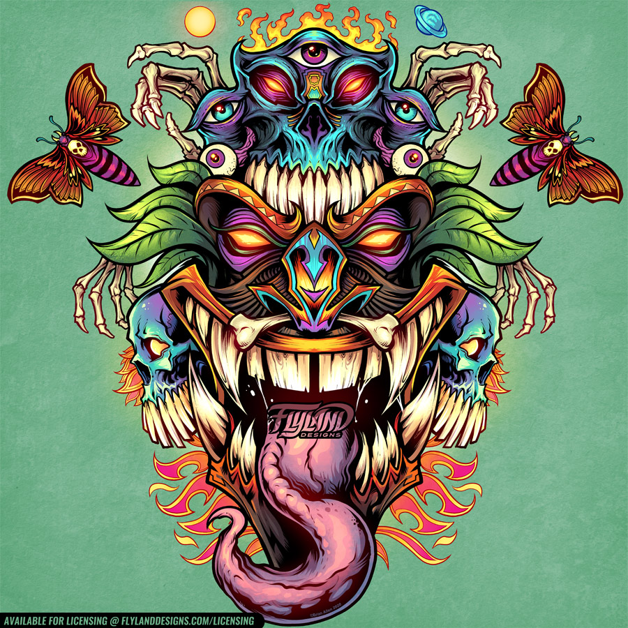 Psychedellic Tiki head with purp