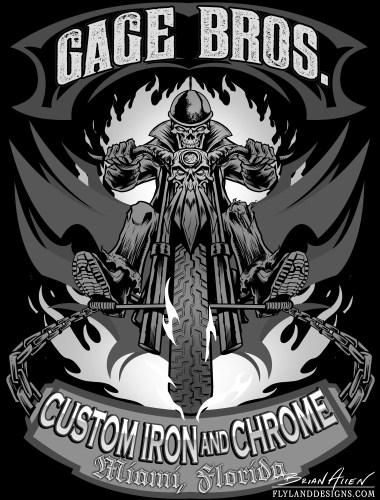 Skeleton riding a chopper for a T-Shirt design