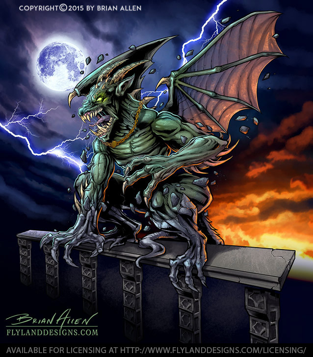 Gargoyle graphic in stormy sky for vehicle wraps.