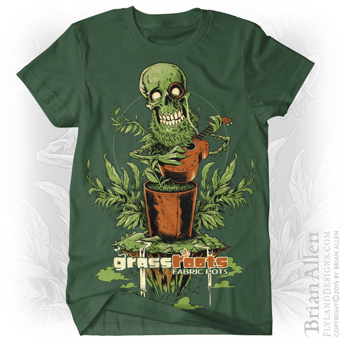 Skull and plant silk-screen t-shirt design