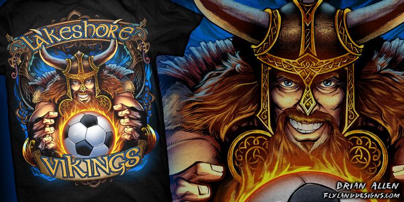 Custom T-shirt illustration of a viking mascot holding a soccer ball