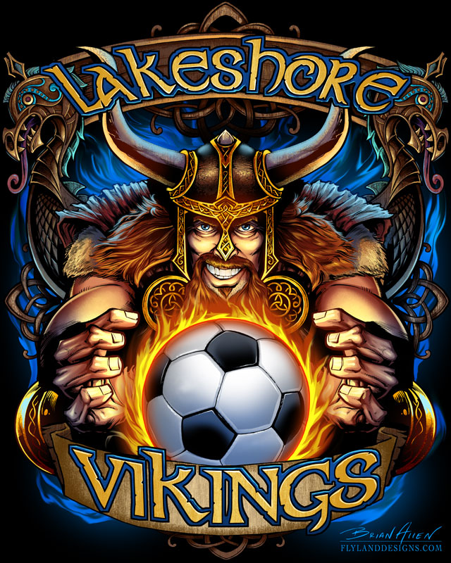 Custom T-shirt illustration of a viking mascot holding a soccer ball