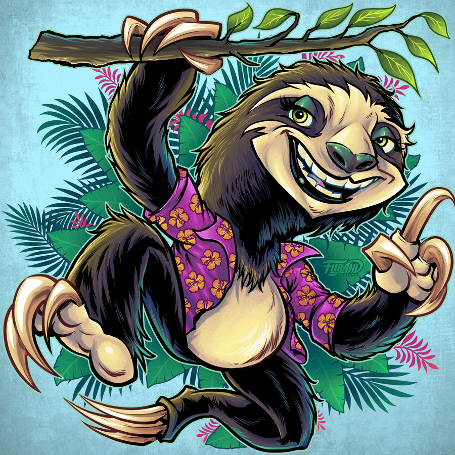 cartoon sloth animal in palm tre