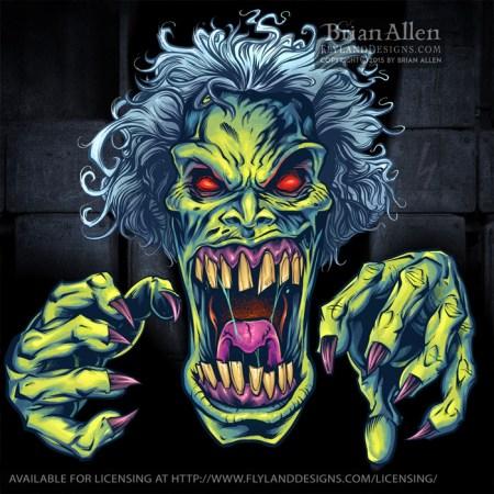 Evil Green Cartoon Zombie