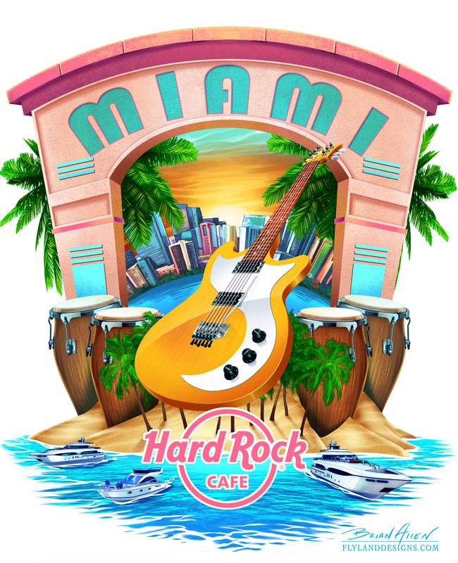 Hard Rock Cafe T-Shirt design of Miami, Florida