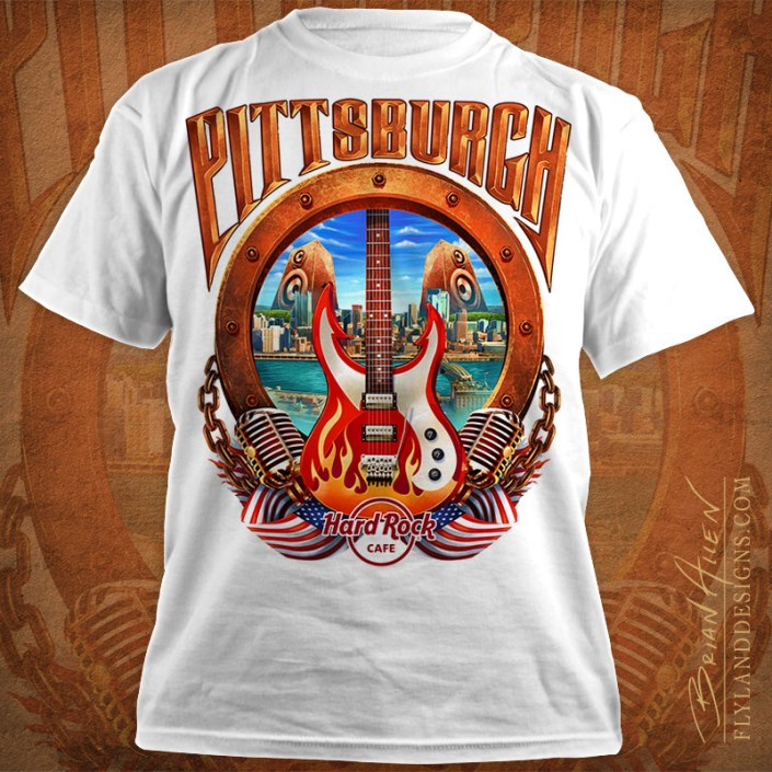 Hard Rock Cafe T-Shirt design of Pittsburgh, PA