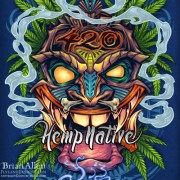 Tiki head t-shirt illustration with marijuana leaves and pot smoke