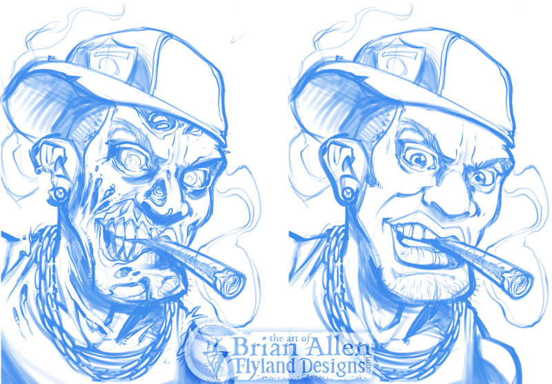 Gangster hip-hop zombie digital painting smoking a cigar