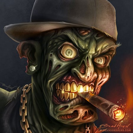 Gangster hip-hop zombie digital painting smoking a cigar