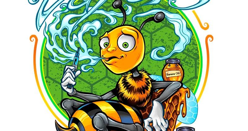 Honey bee cartoon mascot vaping