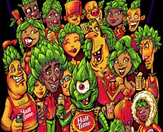 T-shirt illustration of people with Hops for heads drinking beer