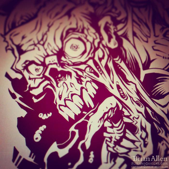 Laser-engraved skateboard design of a team of zombie superheroes